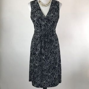 LOFT Black white sleeveless wrap dress size 8
